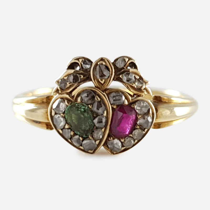 Victorian 18ct Gold Emerald, Ruby, and Diamond Conjoined Hearts Ring - Argentum Antiques & Collectables