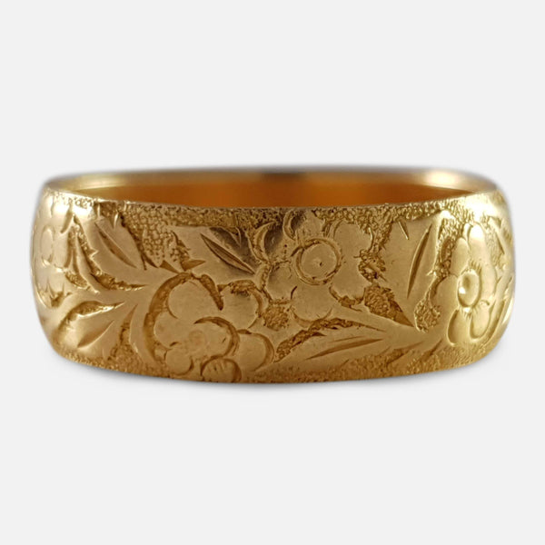 Victorian 18ct Gold Foliate Engraved Wedding Band Ring 1892 - Argentum Antiques & Collectables