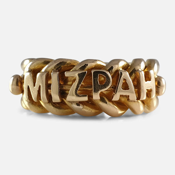 Victorian 18ct Yellow Gold Mizpah Ring, Birmingham 1896 viewed from the front