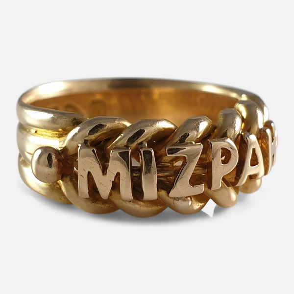 Victorian 18ct Yellow Gold Mizpah Ring, Birmingham 1896 viewed from the left side