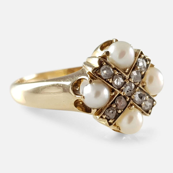 Victorian 18ct Gold Pearl and Diamond Cruciform Ring - Argentum Antiques & Collectables