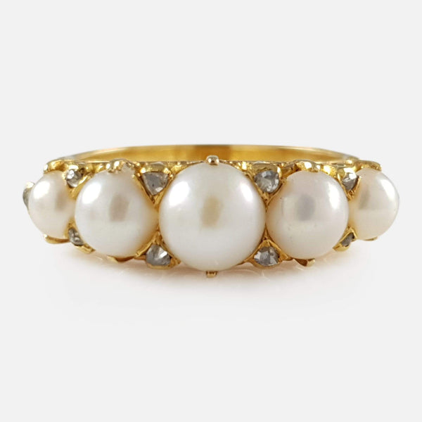 Victorian 18ct Yellow Gold Pearl and Diamond Ring - Argentum Antiques & Collectables