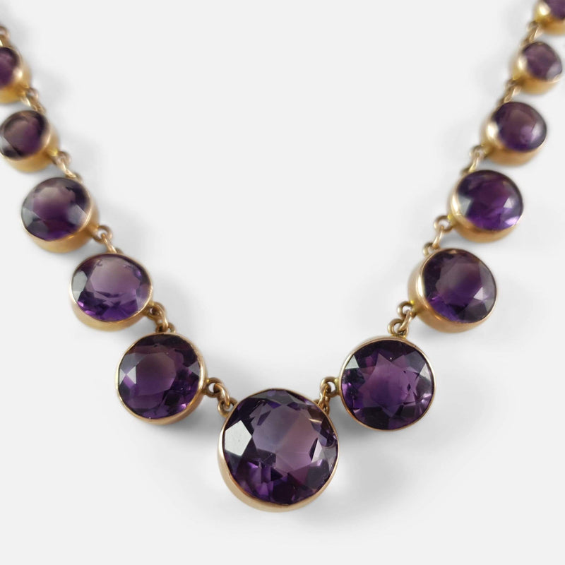 Victorian 9ct Gold Amethyst Riviere Necklace - Argentum Antiques & Collectables