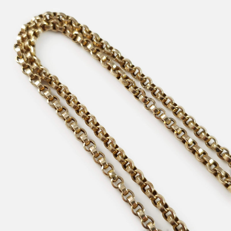 Victorian 9ct Yellow Gold Long Guard Muff Chain, 21.4 Grams - Argentum Antiques & Collectables