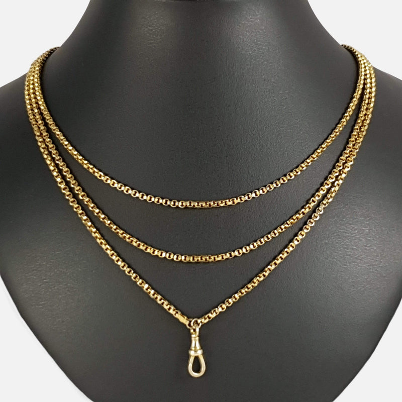 the Victorian 9ct yellow gold guard chain viewed on the bust