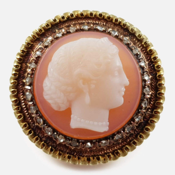 Victorian Gold and Diamond Classical Female Cameo Brooch - Argentum Antiques & Collectables
