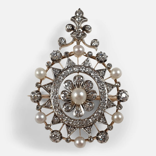 Victorian Silver, Gold, Diamond, and Pearl Pendant Brooch viewed from the front