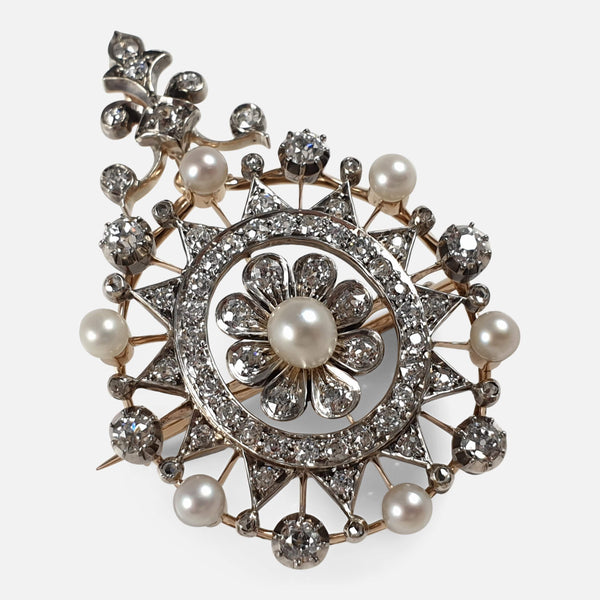 Victorian Silver, Gold, Diamond, and Pearl Pendant Brooch viewed from above