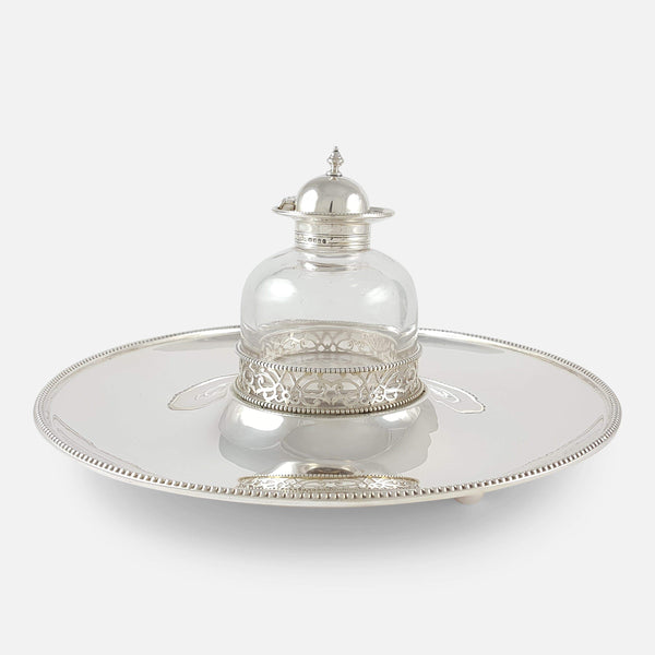 Victorian Sterling Silver Inkwell and Inkstand view from the front