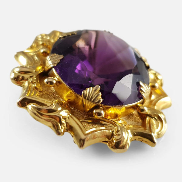 Victorian Yellow Gold 51.74cts Amethyst Brooch - Argentum Antiques & Collectables