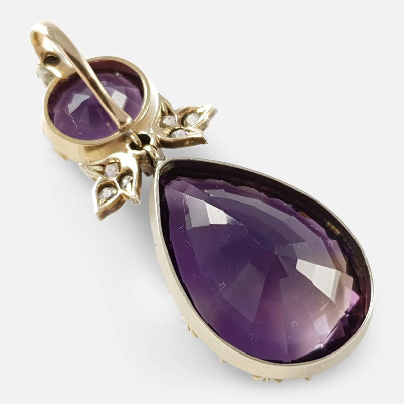Victorian Silver, Gold, Amethyst and Diamond Drop Pendant - Argentum Antiques & Collectables