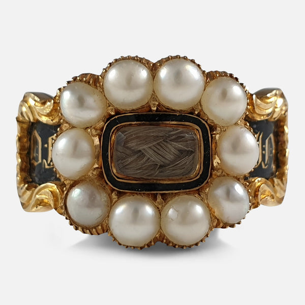 William IV 18ct Gold, Split Pearl, Enamel, and Hair Memorial Mourning Ring, 1833 viewed from the front