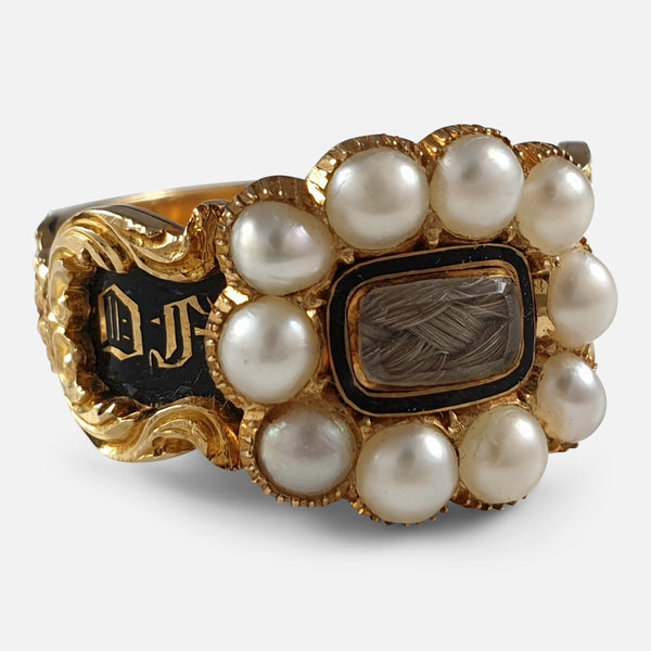 William IV 18ct Gold, Split Pearl, Enamel, and Hair Memorial Mourning Ring, 1833 viewed from the left