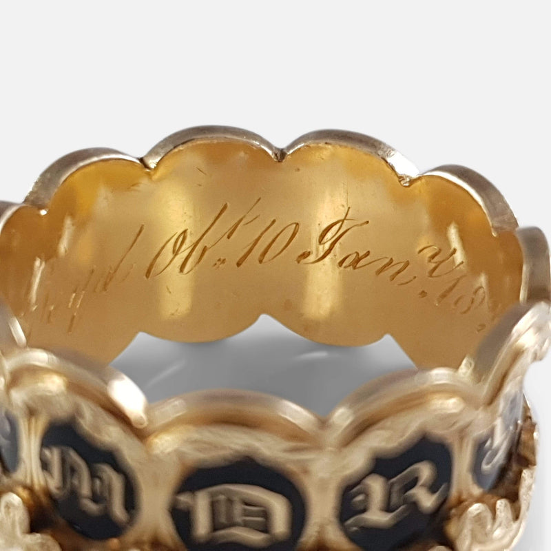 William IV 18ct Gold & Enamel Memorial Mourning Band Ring 1832 - Argentum Antiques & Collectables