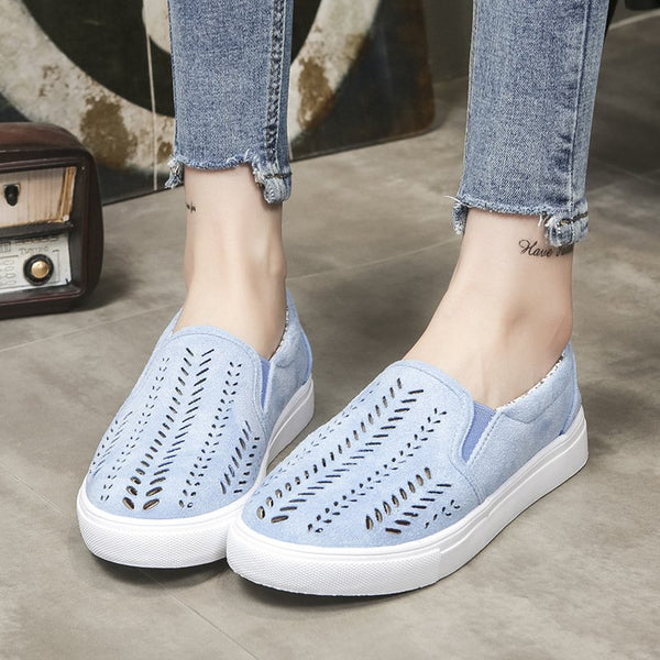 Women's Mocassins Hollow-Out Simple Bleu Talon bas Bout rond Mocassins