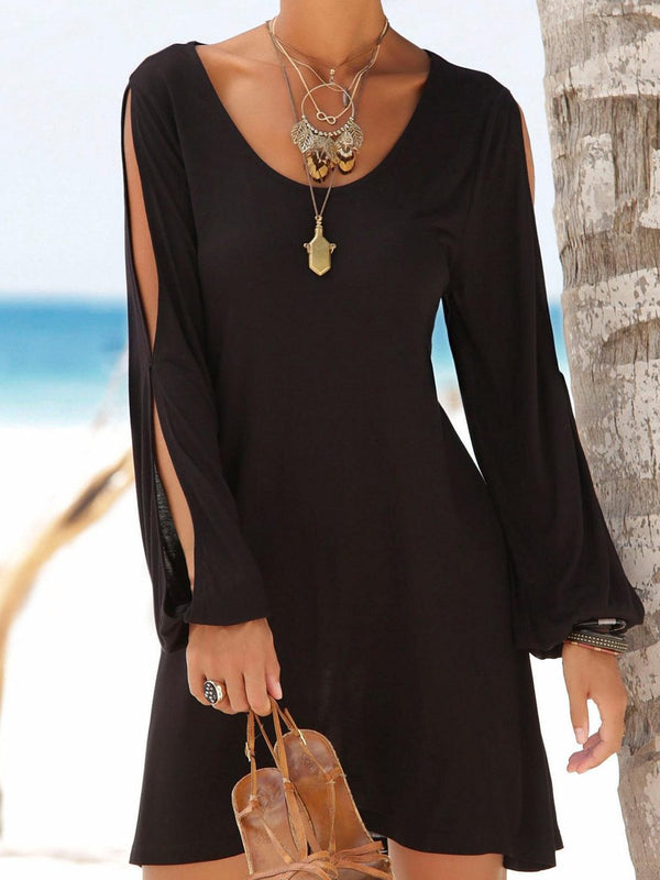 Casual courte robe noire Swing manches longues fente froid Shouler Shift robe d'équipage