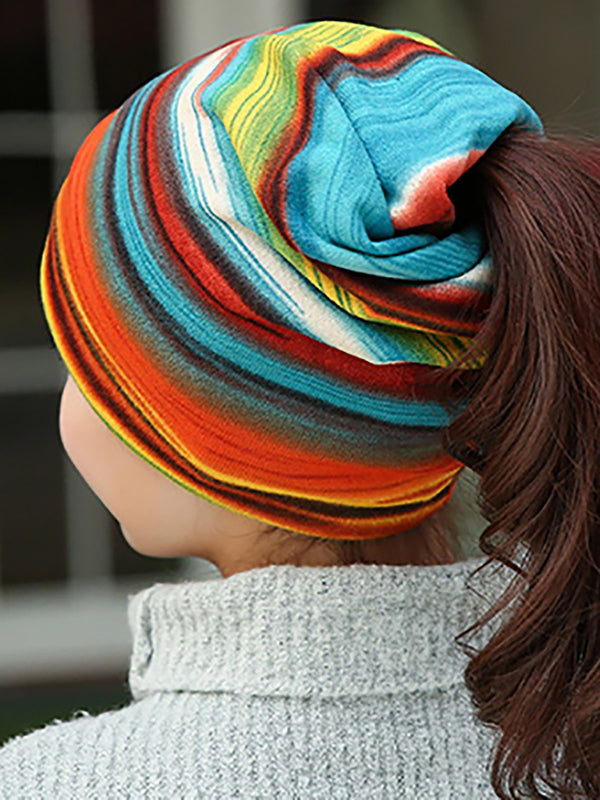 Womens Colorful Stripe Casual Bonnets Coupe-Vent Colliers Écharpes