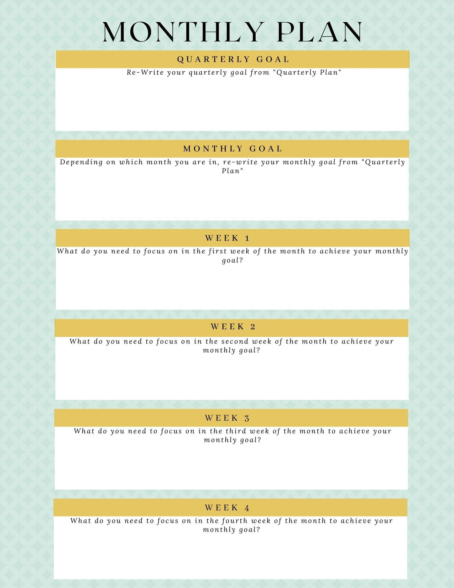 Coffee.Yoga.Life. Goal Planner- Printable