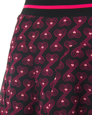 GRAPHIC HEART PRINTED FLARED MINI SKIRT