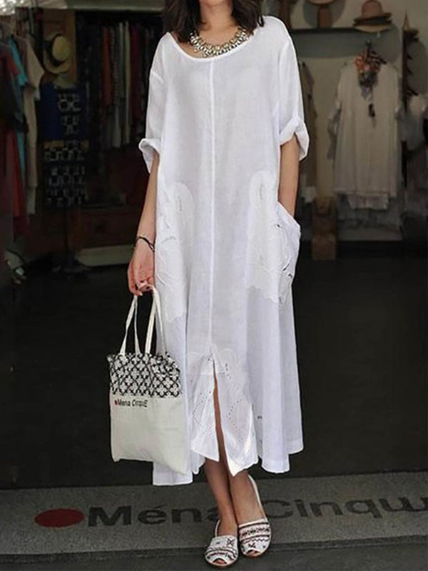 Robe d'été à manches 3/4 en coton blanc Shift Beach