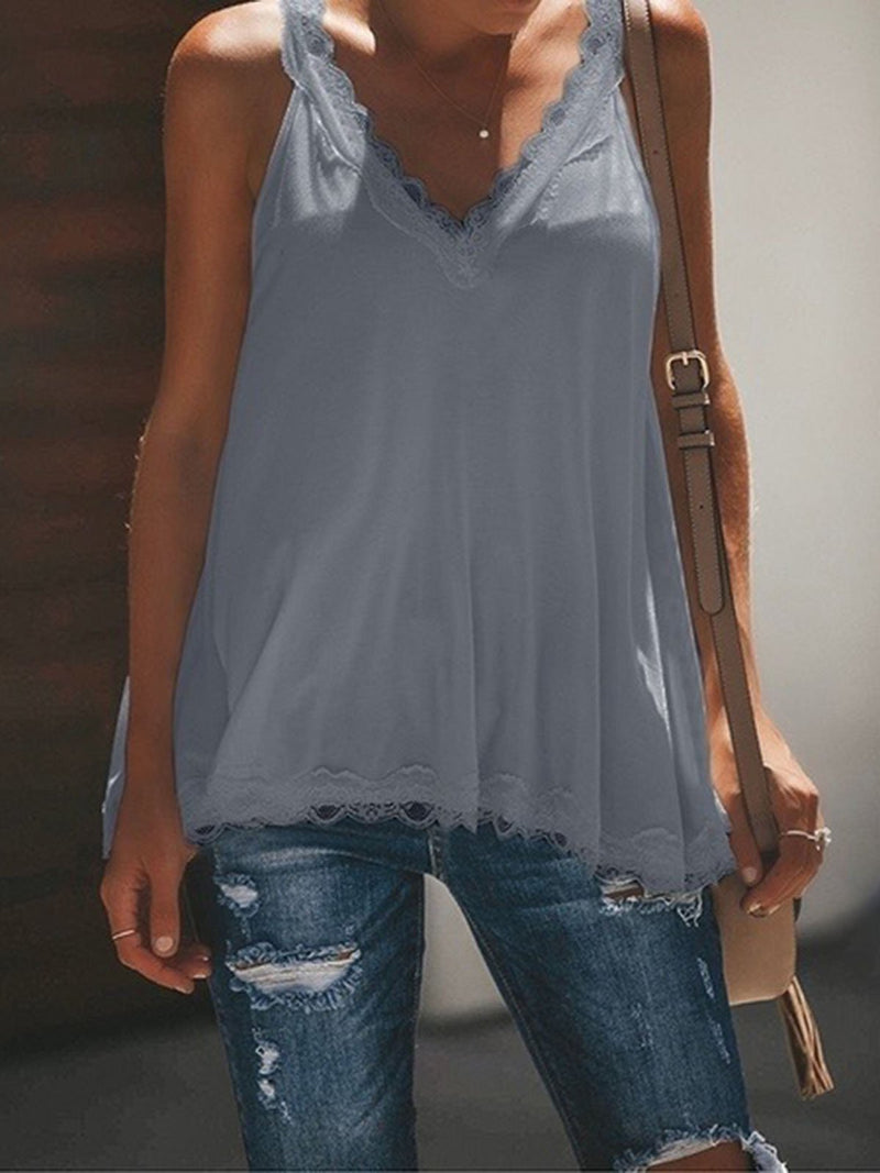 V Neck Paneled Spaghetti Solid Sexy Camis