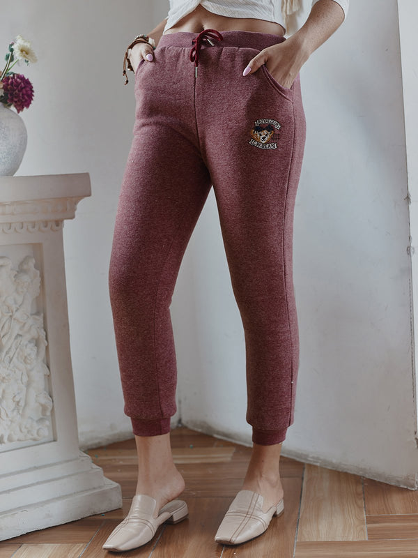 Fur Lining Elastic Waist Warm Pants