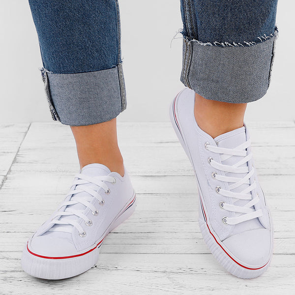 Lasmode Chaussures Plates en Toile Grande Taille Couleur Pure Lace Up