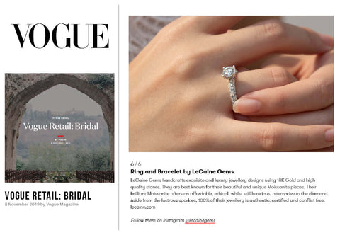 British Vogue Retail Bridal Jewellery Moissanite Rings
