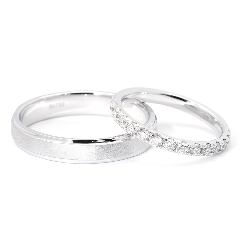 Heligan 18K White Gold Wedding Rings with Half Eternity - LeCaine Gems