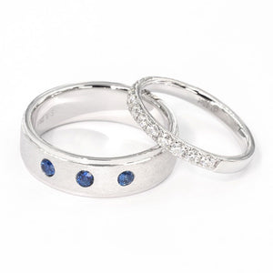 Melrose Half Eternity 18K Gold Ring & Matte Polish 3 Stone Sapphire Men Ring - LeCaine Gems