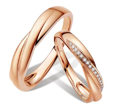 18K Rose Gold Twist Wedding Rings - LeCaine Gems