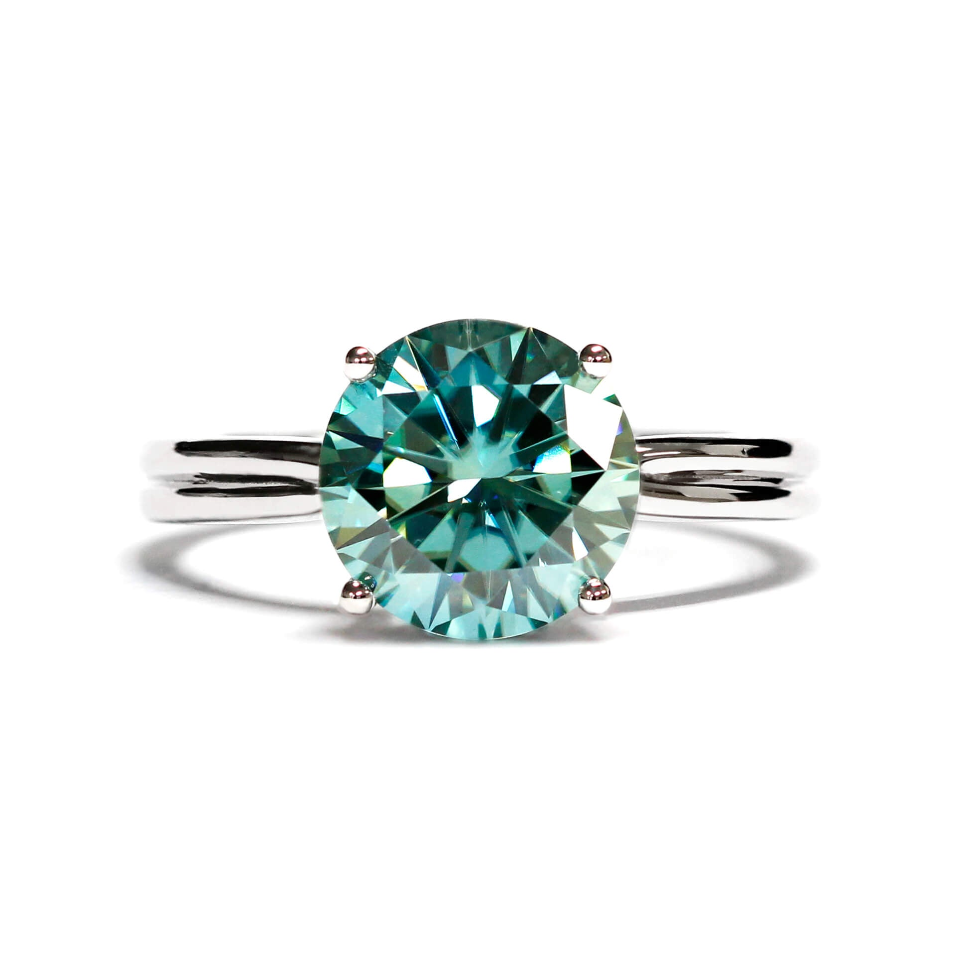 4 Carat Mint Green Moissanite Ring on 18K White Gold