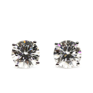 Moissanite Solitaire Earrings in 18K White Gold Basket Setting - Lecaine Gems Moissanite