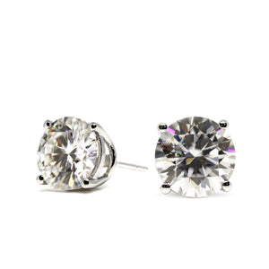 Ready Made | 1 Carat Moissanite Solitaire Earrings in 18K White Gold Basket Setting - LeCaine Gems