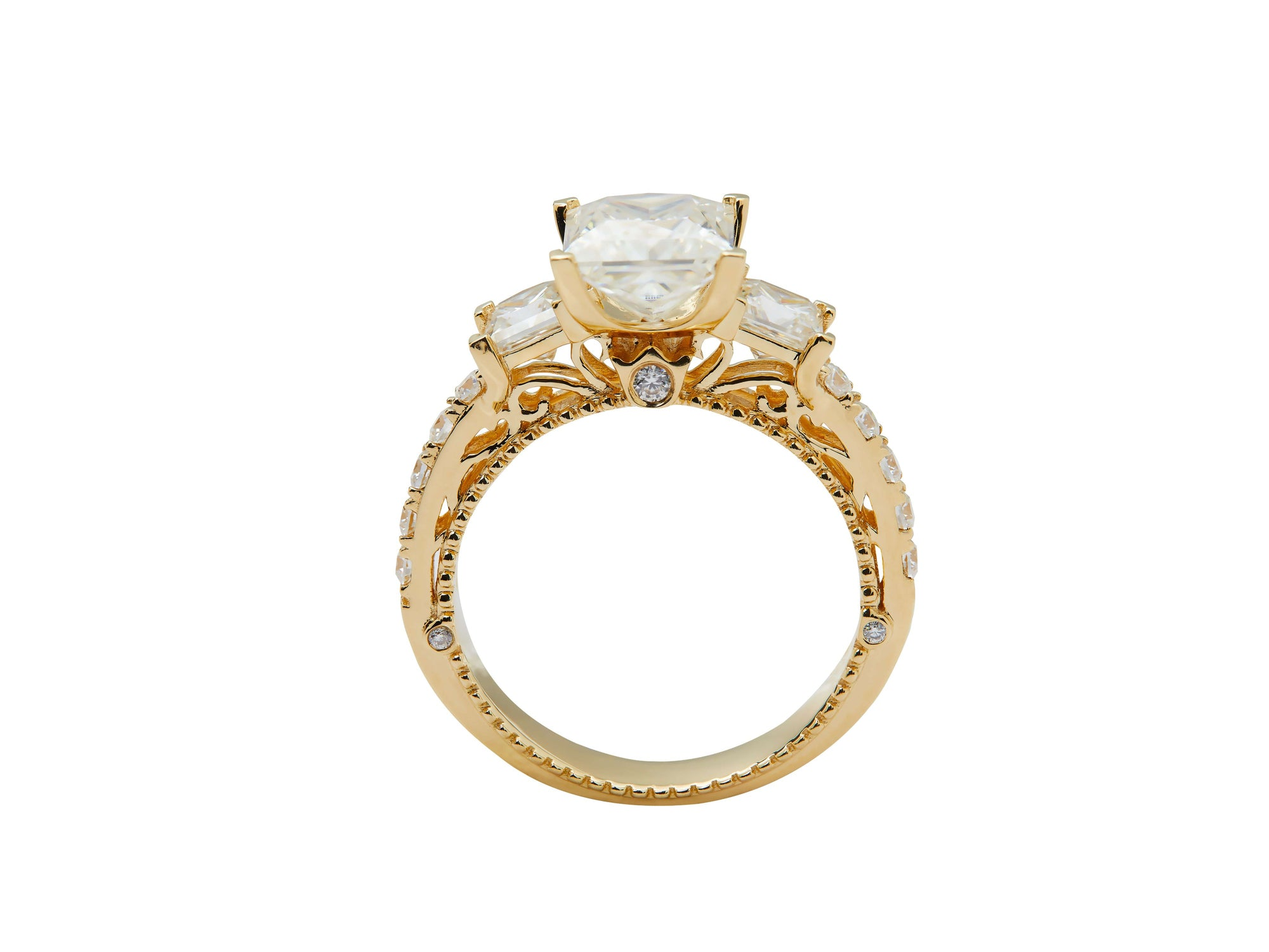 Trilogy Engagement Ring with 1.5 Carat Princess Cut Moissanite 18K Yellow Gold - LeCaine Gems
