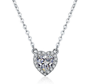 2 Carat Heart-Shaped Moissanite 18K White Gold Pendant with Necklace - Lecaine Gems Moissanite