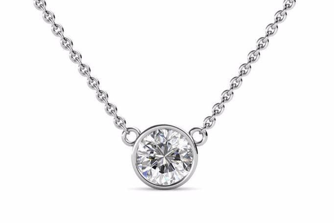 1 Carat Round Moissanite Bezel Set Solitaire 18K White Gold Pendant lecaine gems Singapore Moissanite