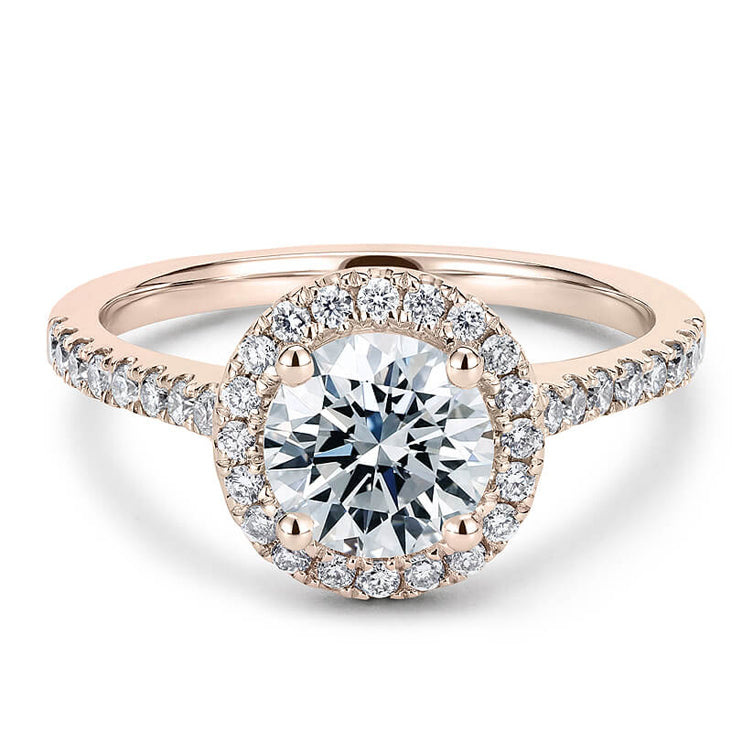 Mera Halo Moissanite 18K Rose Gold Ring - LeCaine Gems