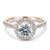 2 Carat Halo Moissanite in 18K Rose Gold Ring - LeCaine Gems