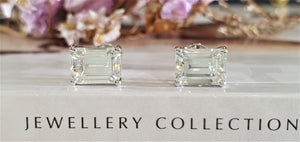 1 Carat Emerald Cut Moissanite Stud Earrings - LeCaine Gems