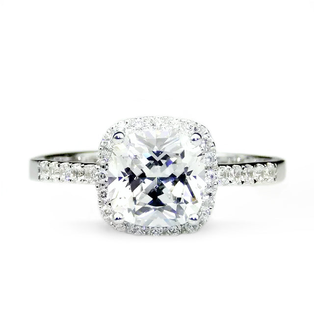 5 Carat Cushion Cut Halo Moissanite Ring