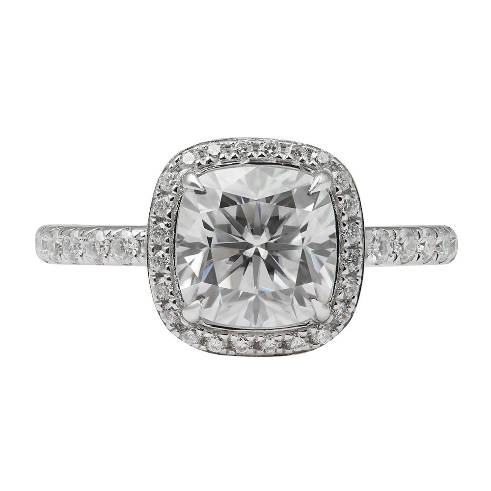 Ready Made | 2 Carat Cushion Cut Halo Moissanite Ring - LeCaine Gems