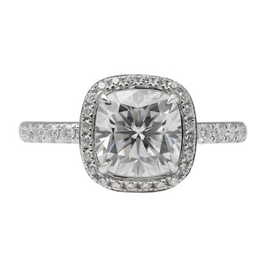 Ready Made | 2 Carat Cushion Cut Halo Moissanite Ring - Lecaine Gems Moissanite