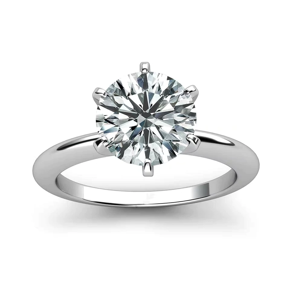 Moissanite Classic Solitaire 6 Prong 18K White Gold Sharp Band - LeCaine Gems