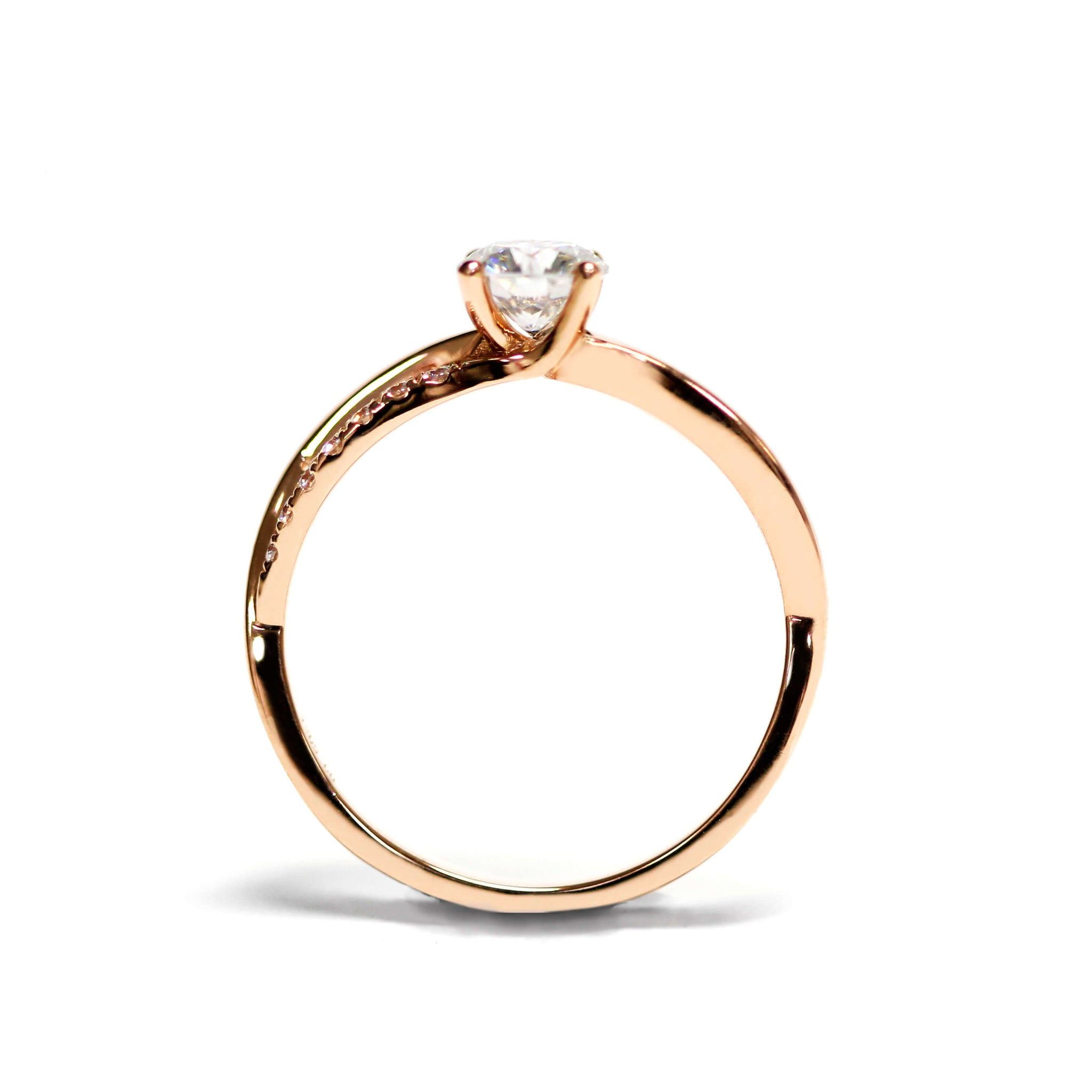 Round Moissanite Solitaire Accents 18K Rose Gold Ring