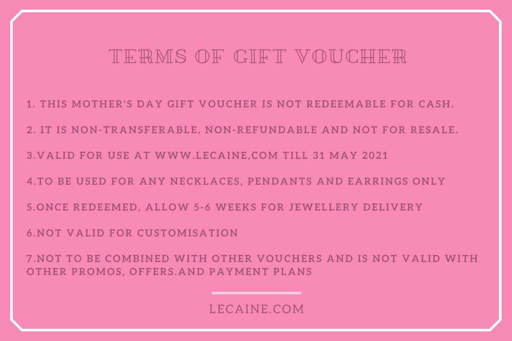 Mother's Day Jewellery Gift Voucher Valued at $388 Singapore Circuit Breaker Home Delivery