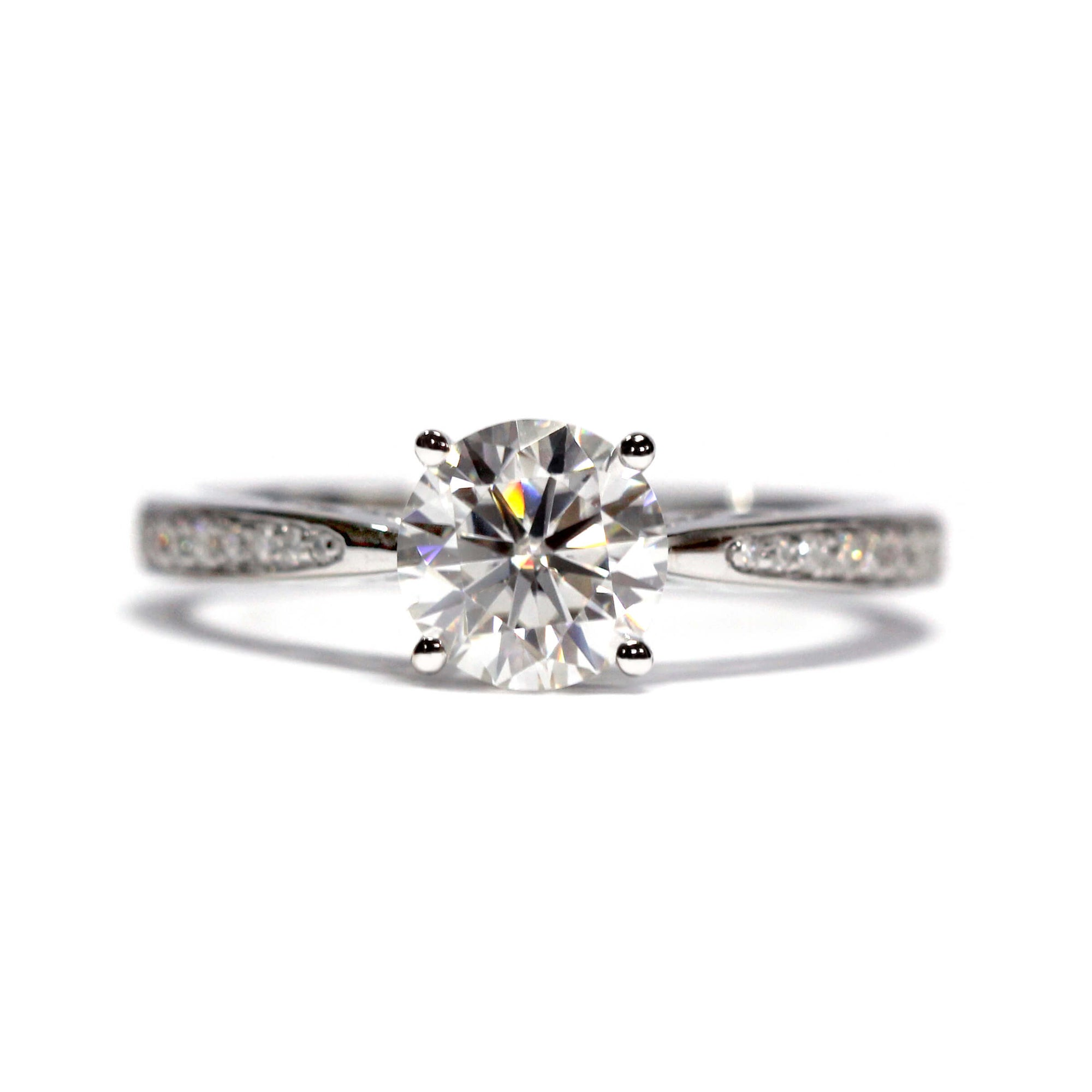 1 Carat Moissanite ArtCarved Engagement Ring with Accents - LeCaine Gems