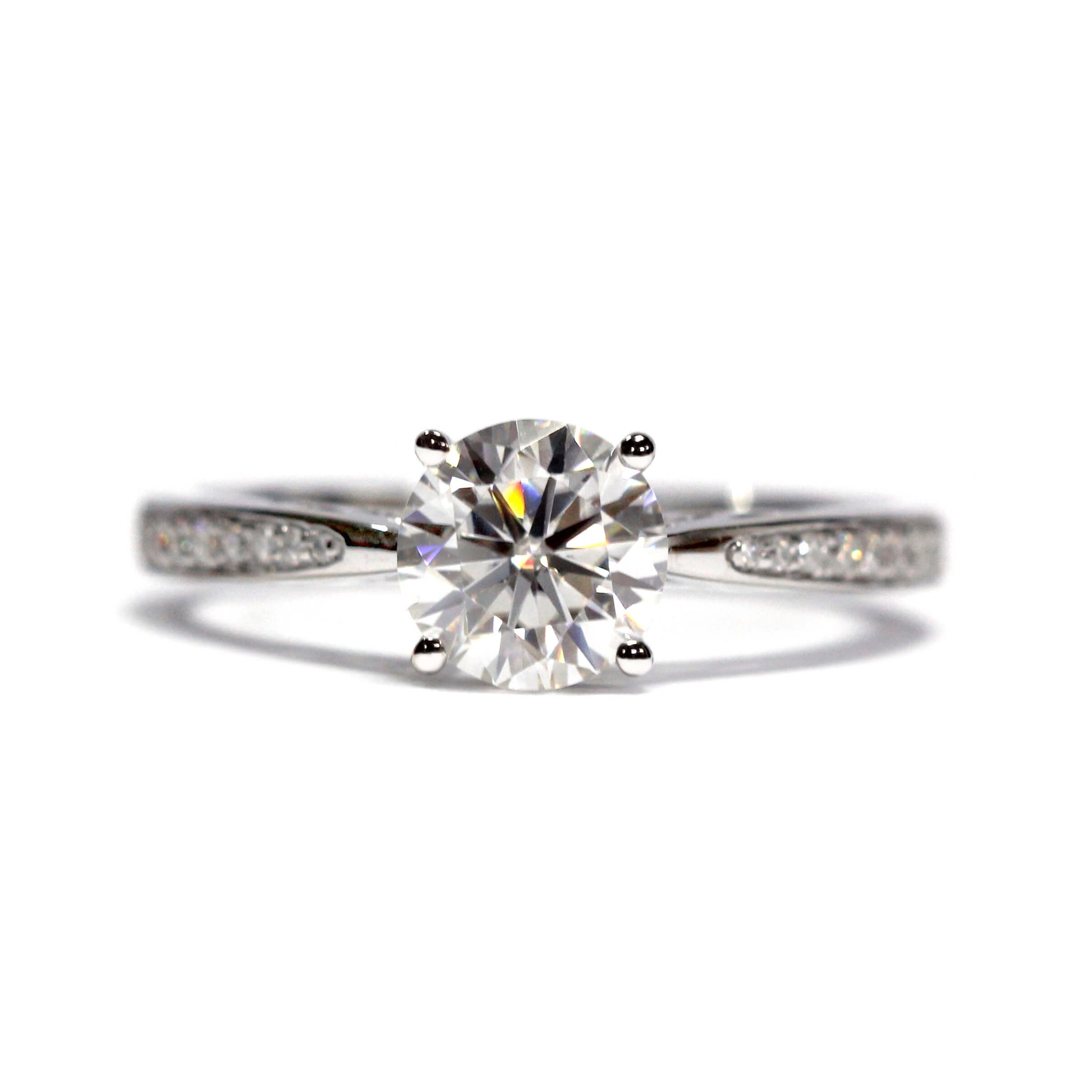 1 Carat Moissanite ArtCarved Engagement Ring with Accents
