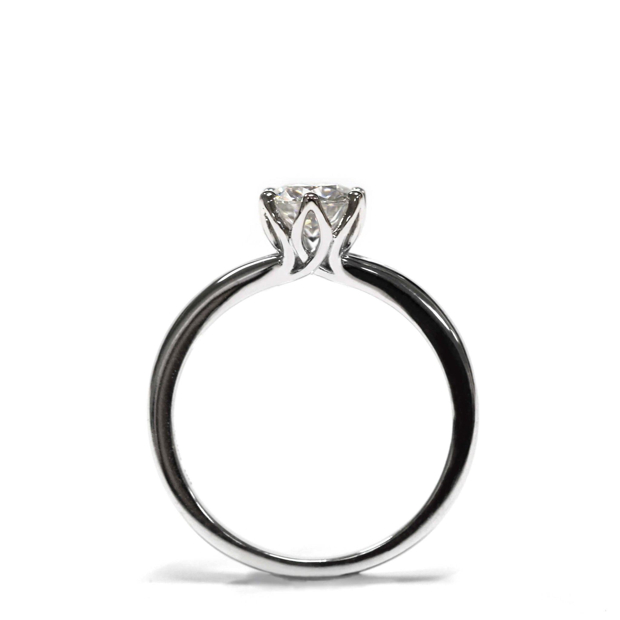 1 Carat Moissanite Solitaire with Flower Petal Setting