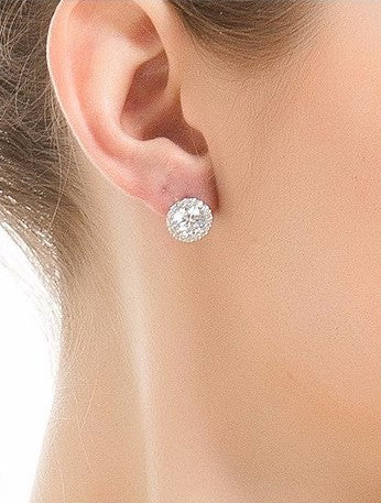 1 Carat Halo Moissanite Earrings 18K White Gold